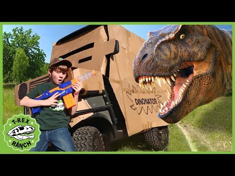 Dinosaur Box Fort Escape! Giant T-Rex Nerf Battle & Adventure with Toy Dinosaurs For Kids