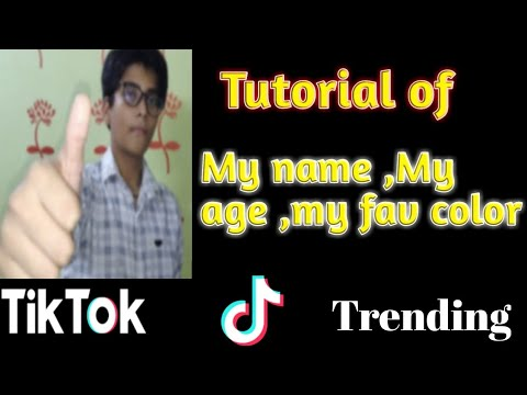 Tutorial Of My Name My Age My Fav Colour My Sign Tiktok Trending In 2 Min Youtube