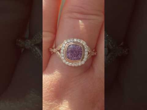 Precision Concave Cut Purple Spinel in Rose Gold Engagement Ring with Daisy Diamond Halo