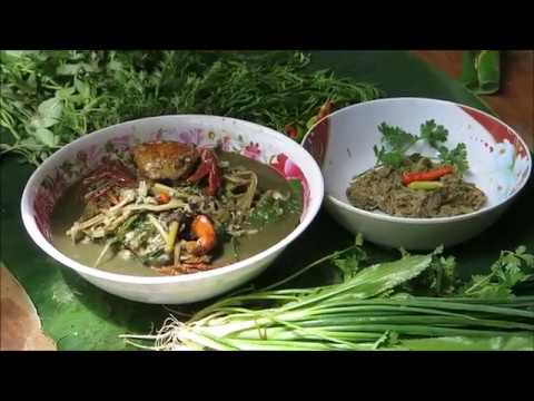 Laos food,crab cooking with bamboo shoot