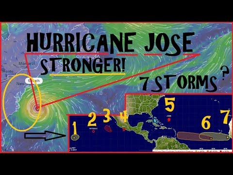 Hurricane JOSE gets STRONGER AGAIN West coast Hurricane and 2 more forming in the Atlantic!