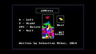 asmtris tetris game in assembly language x86 16 bit dos