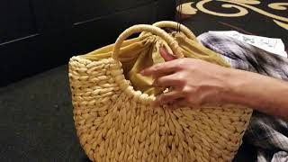 JOSEKO Summer Beach Bag, Women Straw Handbag Top Handle Shoulder Bag Travel Tote Purse.