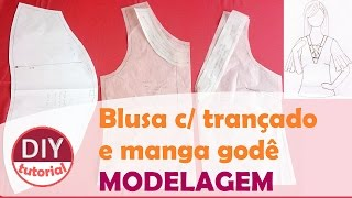 Blusa com amarração no decote e manga godê – parte 1: modelagem