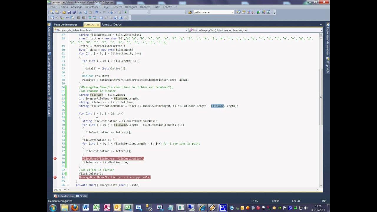 Tutoriel 58 Broyeur de fichier en C# en français douzième partie