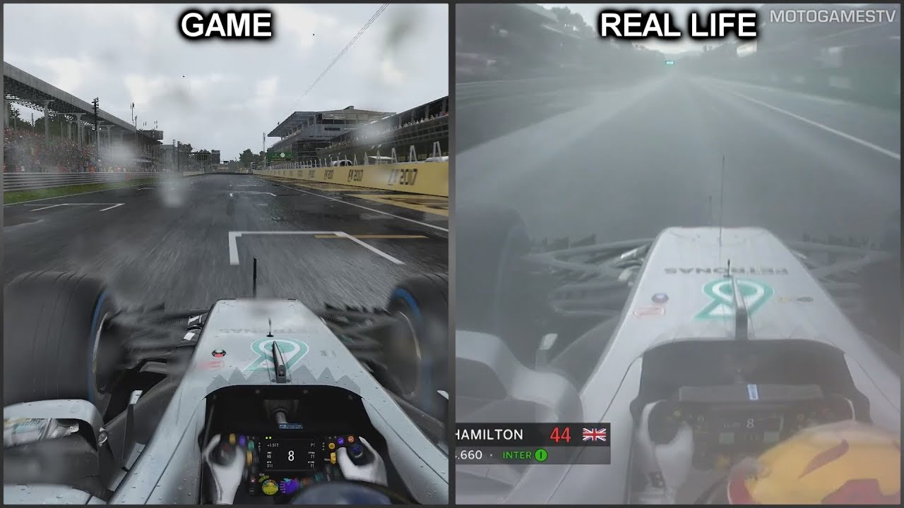 F1 2017 Vs Real Life Monza Onboard Lap Comparison YouTube