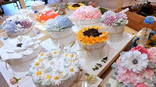 Как делается удивительный цветочный торт со взбитыми сливками   Корейский десерт