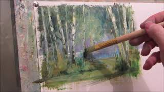 We draw birch. Oil.