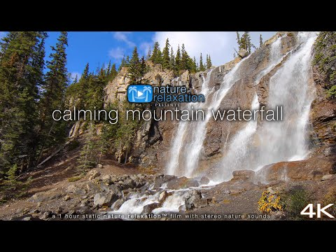 "4K Nature Scene: ""Calming Mountain Waterfall"" 1 HR Static Video + Stereo Sounds - Jasper NP, Alberta"