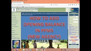 HOW TO ADD OPENING BALANCE (NEW AGENCY) IN PFMS