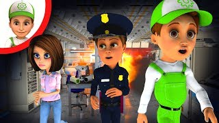 Cartoon. Handy Andy, Emmy and the policeman fell into a trap. cartoons for kids