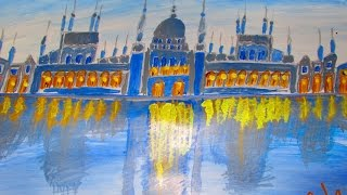 Lighting Mosque/Castle Acrylic Painting