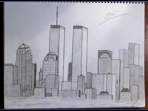 Drawing of new york city skylinenyc with trade centers time lapse pencil drawing zartwork
