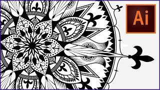 How to draw a MANDALA in ADOBE ILLUSTRATOR | Speedpaint | SwanStarDesigns