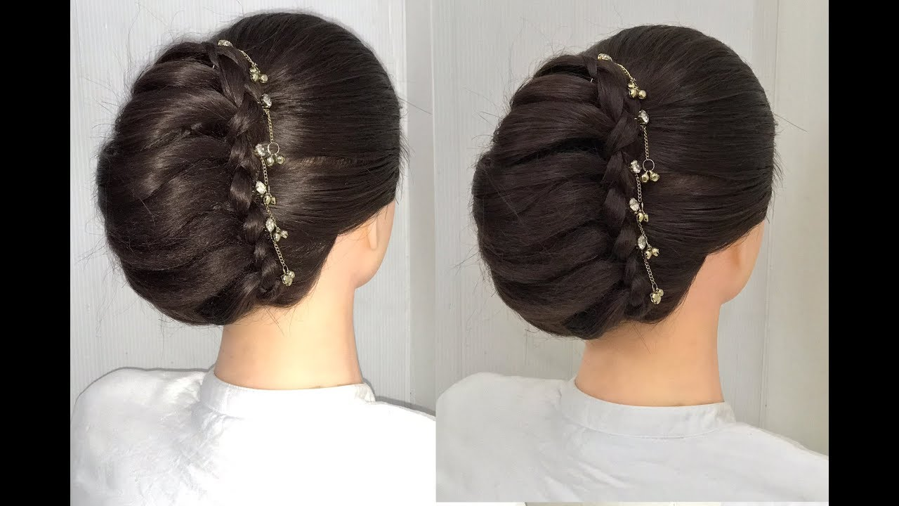 Beautiful French Bun Hairstyle For Wedding Or Party