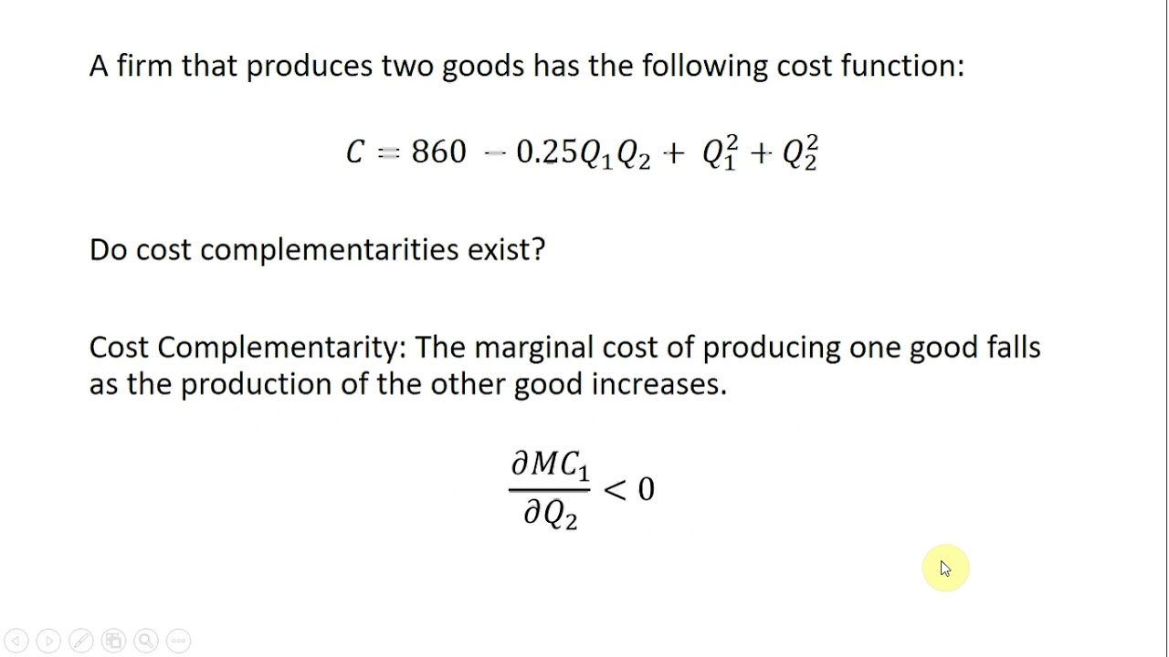 Cost Complementarity In Multiproduct Firms Youtube