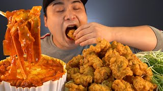 Yeopgi Tteokbokki with Chinese glass noodles and boneless chicken mukbang~!! Real sound social