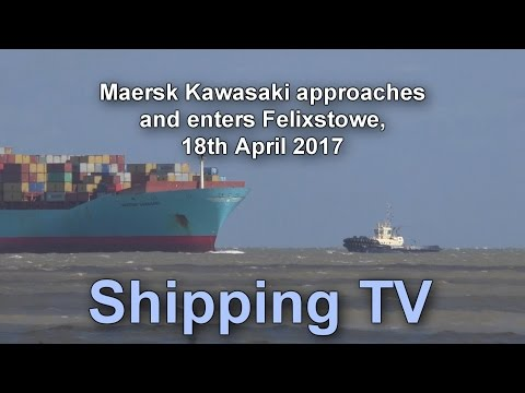 Maersk Kawasaki approaching Felixstowe, 18th April 2017