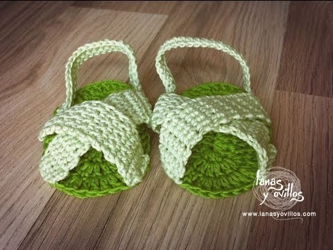 Crochet Tutorial Zapatos Bebe : Tutorial Sandalias BebE Crochet o Ganchillo Baby Sandals (English ...
