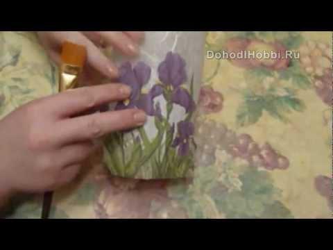 ДЕКУПАЖ НА СТЕКЛЕ. Декор вазы Декупаж на стекле.
