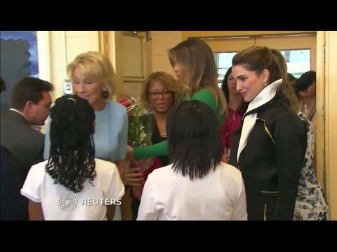 Melania Trump, Queen Rania visit D.C. school