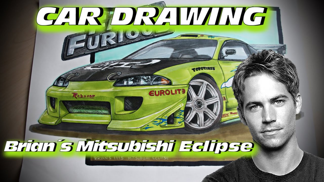 brians 1995 mitsubishi eclipse the fast and the furious car drawing by fast art youtube - Mitsubishi Eclipse Fast And Furious Wallpaper