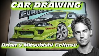 Brian´s 1995 Mitsubishi Eclipse [The Fast and the Furious] Car Drawing by FR7