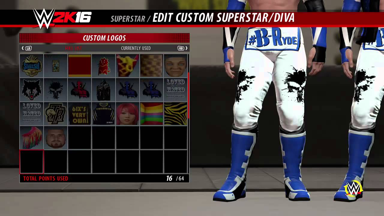 Wwe2k16 edit any uploaded or downloaded logo in game youtube