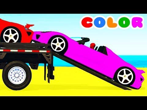 COLOR CARS Transportation & Spiderman Cartoon for kids w Bus Superheroes for babies children!