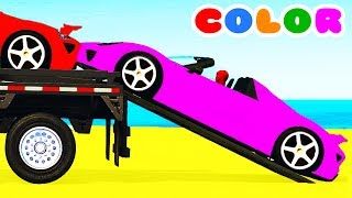 COLOR CARS Transportation & Spiderman Cartoon for kids w Bus Superheroes for babies children!
