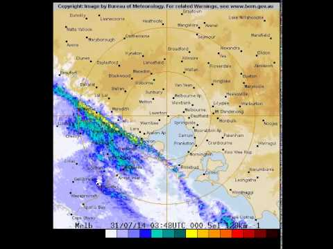 Rain for Melbourne at zoom level 128 kms on Thursday 31 of July, 2014