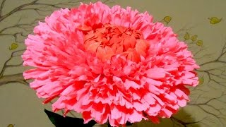 Красивый гигантский цветок из гофрированной бумаги - хризантема, мастер класс