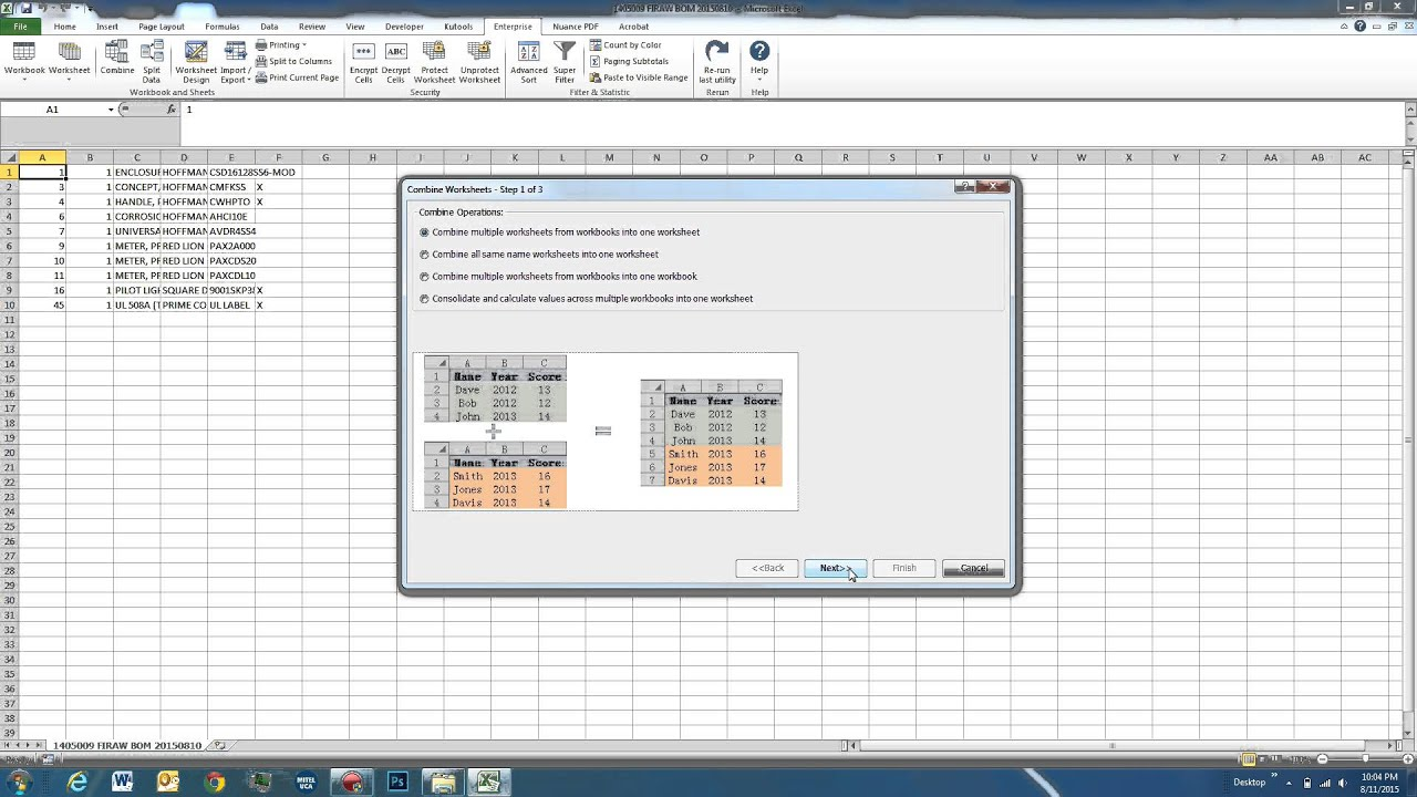 Worksheets Combine Worksheets In Excel using kutools for excel 1 combine and advanced rows commands