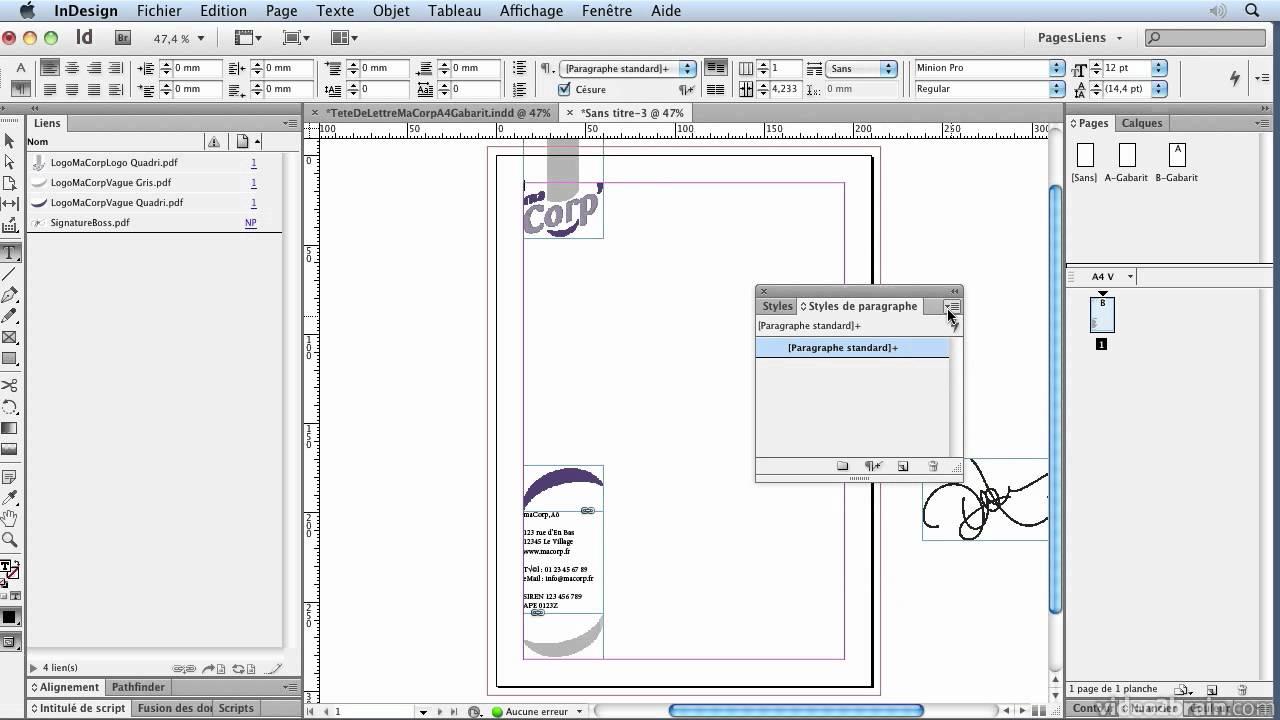 Papier A Lettre En Mm Photoshop Modele De Tete Orange Indesign Cs6 Creer Une Youtube