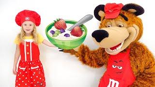 Nastya dan beruang memasak bubur, video untuk anak-anak