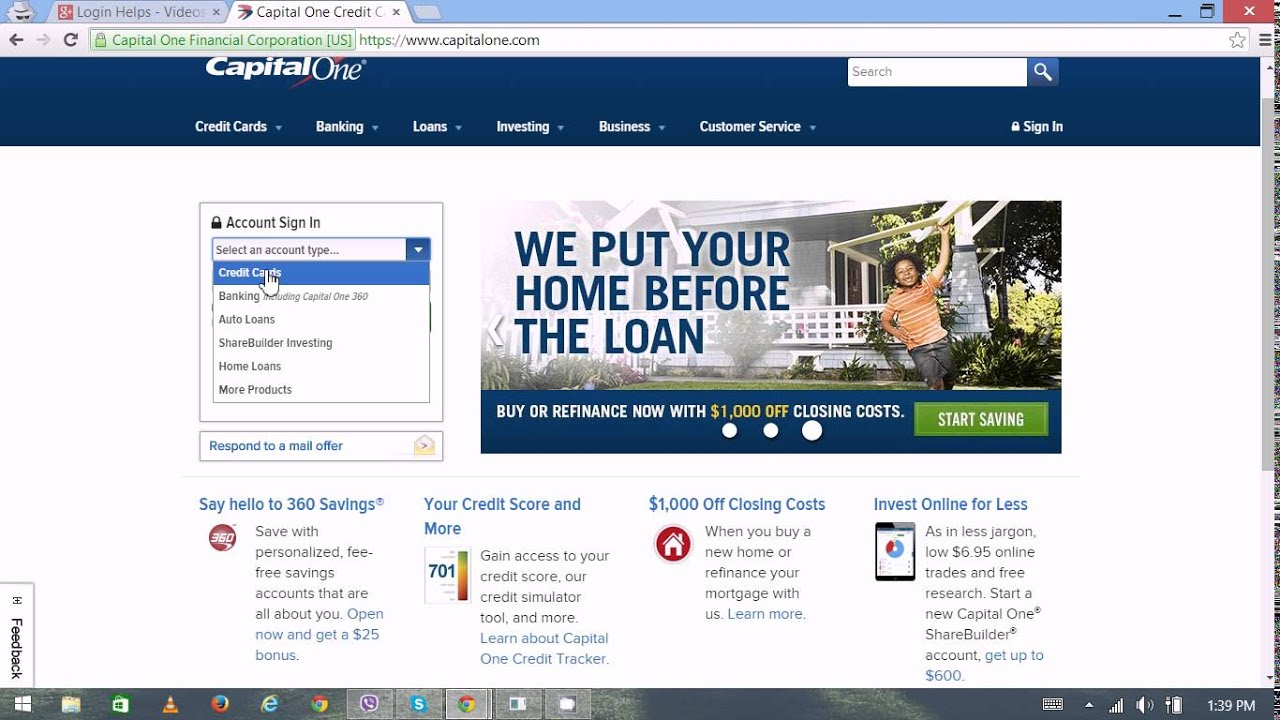 Capital One Online Banking Login / Sign In - Capital One Credit Card ...