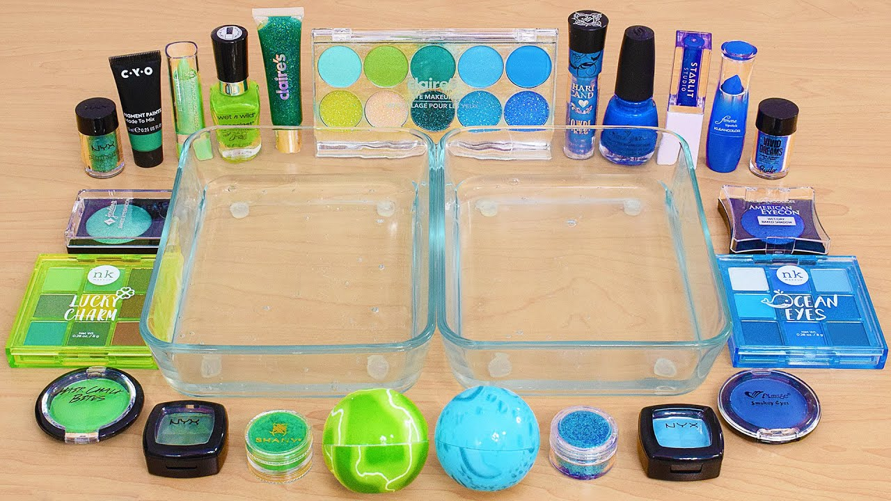 Blue vs Green - Mixing Makeup Eyeshadow Into Slime ASMR 438 Satisfying Slime Video