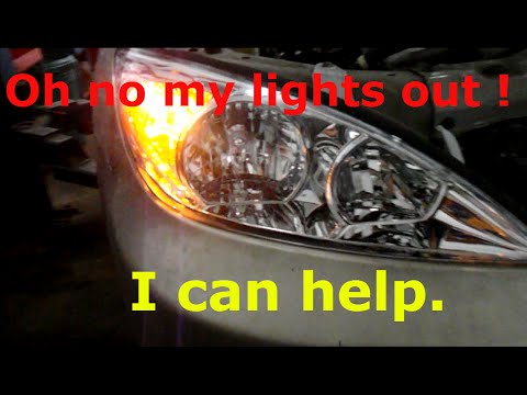 how to replace your high and low beam headlights on a 2004