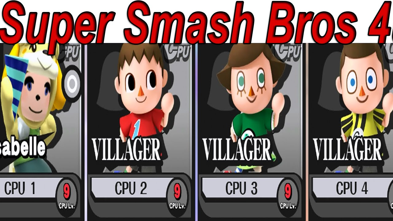 animal crossing mii costumes isabelle vs villager vs female villager super smash bros 4 wii u youtube