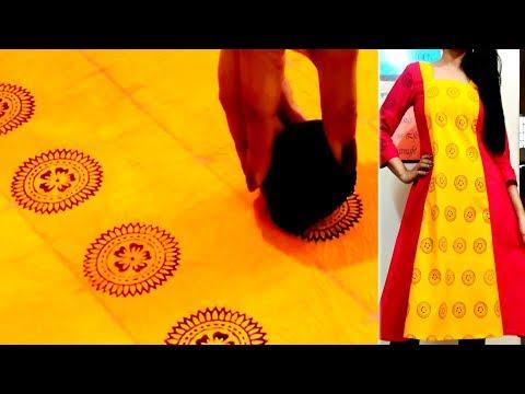 DIY : Block printing at Home | Customized Fabric Printing Techniques| Block Printed Designer Kurti