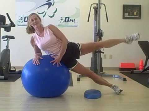 Hip exercise-abduction exercise with stability ball - YouTube