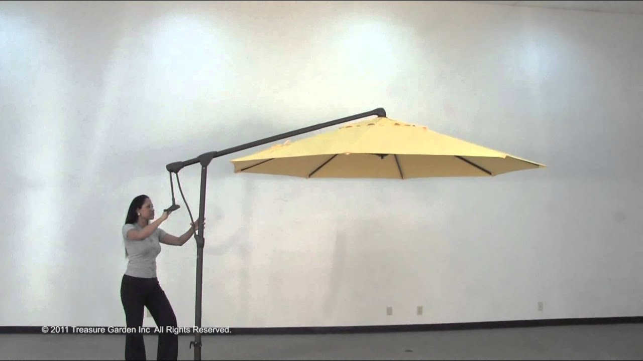 Outdoor Umbrella With Lights Side mount cantilever outdoor umbrella youtube workwithnaturefo