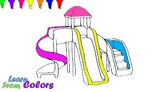 Learn Colors For Kids With Slide Bouncer Playground Coloring Pages