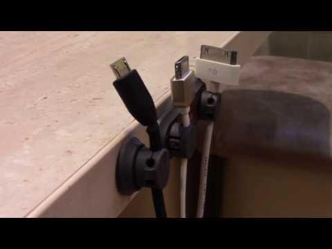 Review Bcase Tup Wood Magnet Data Cable Desktop Cord Clip Огляд тримача для зарядки