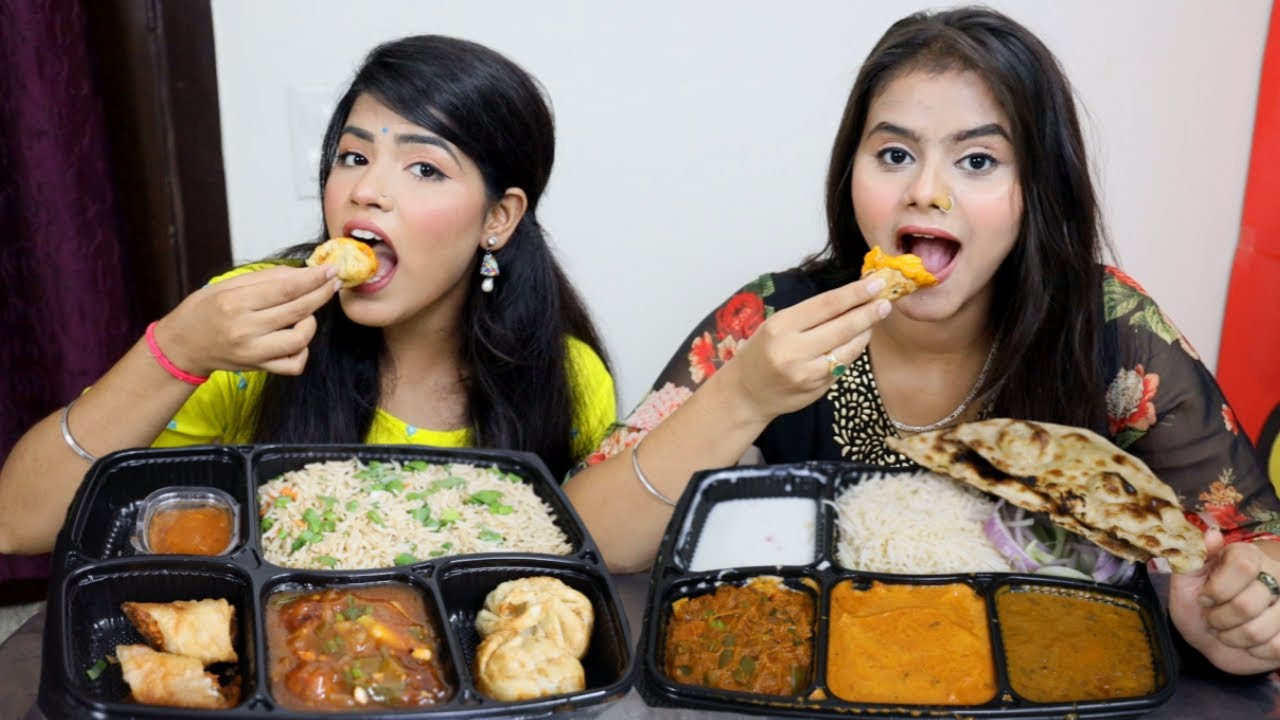Chinese Thali Vs Indian Thali Challenge   Spring Roll Momos Manchurian, Fried Rice    Food Challenge