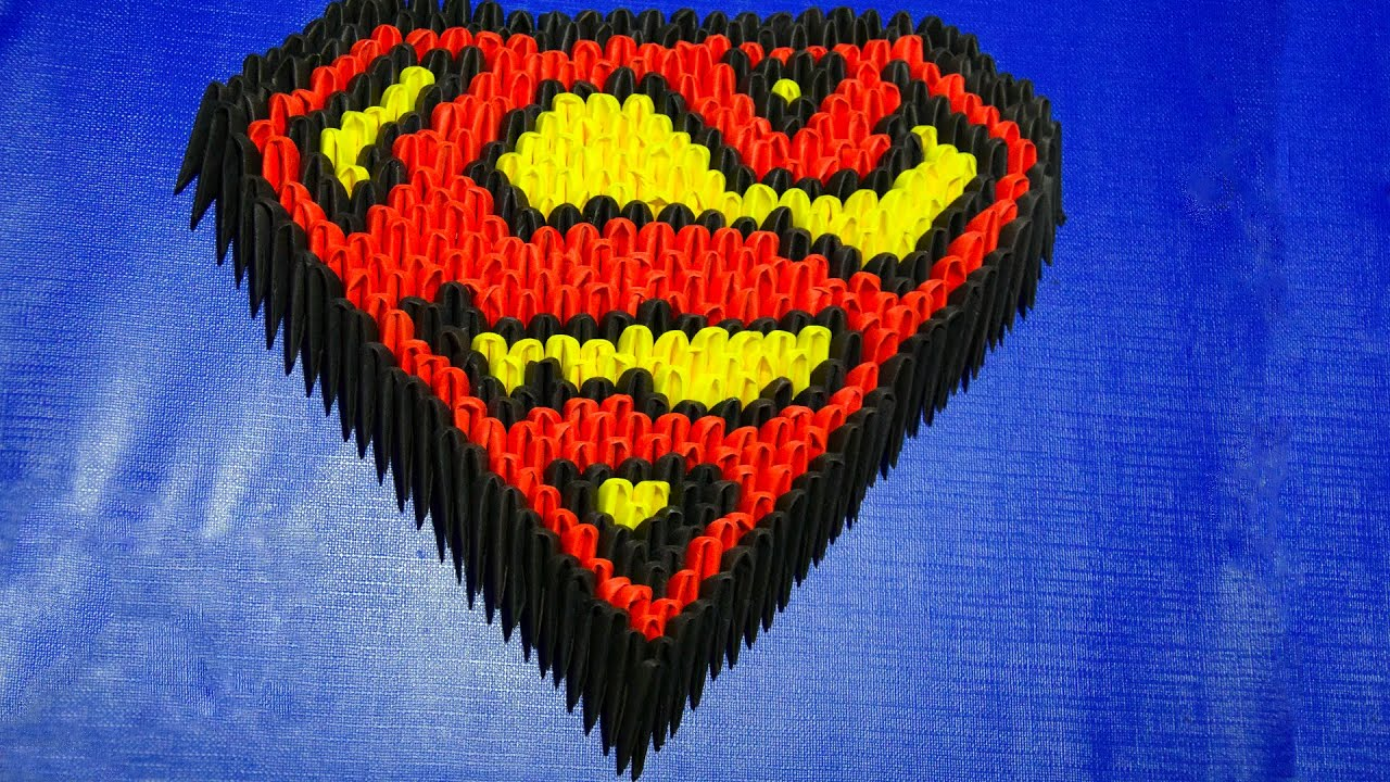 3d origami superman logo of paper tutorial youtube jeuxipadfo Image collections