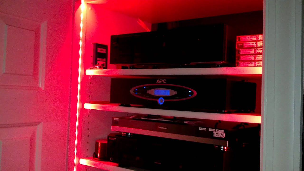 LED Strip Lighting By Bazz For A/V Closet Home Theatre Post Install    YouTube