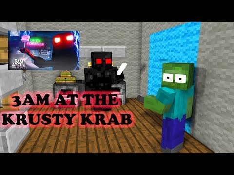 Monster School : 3AM AT THE KRUSTY KRAB CHALLENGE - Minecraft Animation