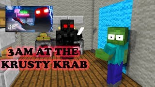 Monster School : 3AM AT THE KRUSTY KRAB CHALLENGE - Minecraft Animation