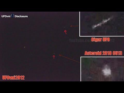 Telescope: Cigar UFO Near The Asteroid 2018 CU13 Turns, Feb 21, 2018